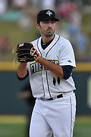Starting pitcher Colin Holderman (11) of the Columbia Fireflies delivers a pitch in a game against the Lexington Legends on Saturday, April 22, 2017, at Spirit Communications Park in Columbia, South Carolina. Lexington won, 4-0. (Tom Priddy/Four Seam Images)