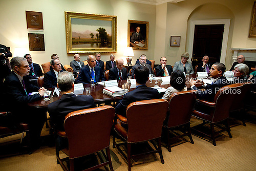 Washington, DC - May 11, 2009 -- United States President Barack Obama meets with healthcare reform stakeholders in the Roosevelt Room at White House, Monday, May 11, 2009. .Mandatory Credit: Pete Souza - White House via CNP