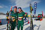 Tour of Anchorage 50k women's winner Hannah Rudd (2067)  and second-place finisher Michaela Keller-Miller smile after the race Sunday, March 4, 2018.  Photo by Michael Dinneen  / www.dinneenphoto.com