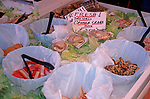A3A9J8 Fish stall display with Cromer crab and shellfish Suffolk England