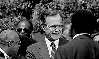 ***FILE PHOTO*** George H.W. Bush Has Passed Away<br /> Washington, DC., USA, April 28, 1989<br /> President George H.W. Bush walks into the Rose Garden to attend the signing of the Executive Order on Historically Black Colleges and Universities ceremony <br /> CAP/MPI/MRN<br /> &copy;MRN/MPI/Capital Pictures