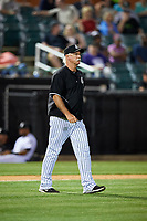 Jackson Generals pitching coach Doug Drabek (15) walks to the mound during a game against the Chattanooga Lookouts on April 29, 2017 at The Ballpark at Jackson in Jackson, Tennessee.  Jackson defeated Chattanooga 7-4.  (Mike Janes/Four Seam Images)