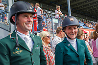 IRL-Susannah Berry and her team mates await the walk of the course for the SAP Cup - CICO4*-S Nations Cup Eventing Showjumping. 2019 GER-CHIO Aachen Weltfest des Pferdesports. Friday 19 July. Copyright Photo: Libby Law Photography