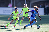 Seattle, WA - Saturday July 23, 2016: Carson Pickett, Kim Little, Jamia Fields during a regular season National Women's Soccer League (NWSL) match between the Seattle Reign FC and the Orlando Pride at Memorial Stadium.