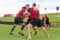 Picture by David Neilson/SWpix.com/PhotosportNZ - 09/02/2018 - Rugby League - Betfred Super League - Wigan Warriors v Hull FC - Captain's Run - WIN Stadium, Wollongong, Australia - Ben Flower in training drills.