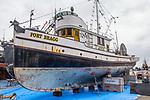 Port Townsend, Salmon seiner Fort Bragg, awaiting demolition, June 2019, Boat Haven Marina, Puget Sound, Jefferson County, Olympic Peninsula, Washington State, Pacific Northwest, United States,