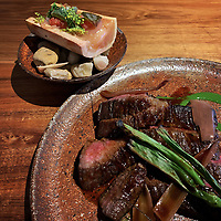Wagyu from 2GR producer #bavette 9+, smoked bone #marrow, spring onion. Cooked over coals at Matilda restaurant. Photo Sydney Low/Matilda-159-Domain