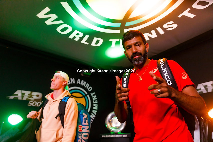 Rotterdam, The Netherlands, 9 Februari 2020, ABNAMRO World Tennis Tournament, Ahoy, Doubles: Rohan Bopanna (IND) and Denis Shapovalov (CAN).<br /> Photo: www.tennisimages.com