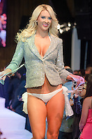 Miami Dolphins Cheerleader Kiley walks runway at Miami Dolphins Cheerleaders Swimsuit 2014 Calendar Unveiling and Fashion Show at Fontainebleau's LIV nightclub, Miami Beach, FL, September 5, 2013