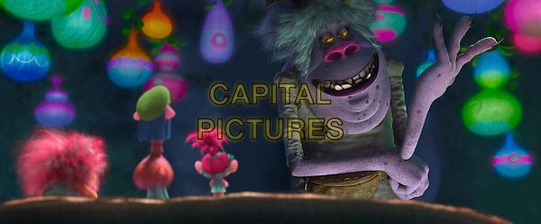 Trolls (2016)<br /> From left: Trolls King Peppy (voiced by Jeffrey Tambor), Cooper (voiced by Ron Funches) and Poppy (voiced by Anna Kendrick) are confronted by the fearsome Bergen Chef (voiced by Christine Baranski)<br /> *Filmstill - Editorial Use Only*<br /> CAP/KFS<br /> Image supplied by Capital Pictures