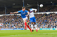 `p9` scores the first goal with a header during Portsmouth vs Rochdale, Sky Bet EFL League 1 Football at Fratton Park on 13th April 2019