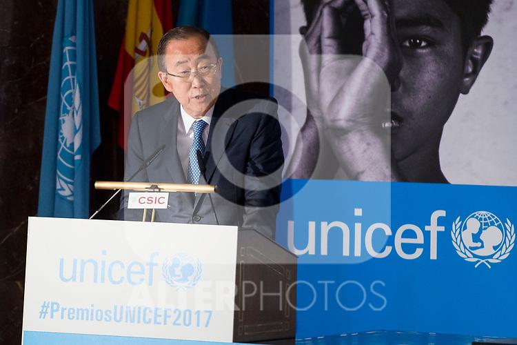 South Korean diplomatic Ban Ki-moon  attends to UNICEF Awards 2017 in Madrid, June 13, 2017. Spain.<br /> (ALTERPHOTOS/BorjaB.Hojas)