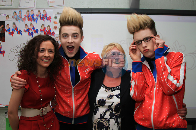 Presentation Primary School in Drogheda receive a visit from Jedward as the prize for collecting the most used mobile phones per student for the Jack and Jill Foundation. pictured here with Principal Marie Matthews and teacher Audrey Lynch...(Photo credit should read Jenny Matthews www.newsfile.ie)....This Picture has been sent you under the conditions enclosed by:.Newsfile Ltd..The Studio,.Millmount Abbey,.Drogheda,.Co Meath..Ireland..Tel: +353(0)41-9871240.Fax: +353(0)41-9871260.GSM: +353(0)86-2500958.email: pictures@newsfile.ie.www.newsfile.ie.