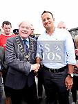 Mayor of Drogheda Frank Godfrey welcomes An Taoiseach leo Varadkar to Fleadh Ceoil na hEireann. Photo:Colin Bell/pressphotos.ie