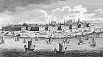 View of the city of Astrakhan, Russia, seen from across the River Volga.      Date: early 18th century