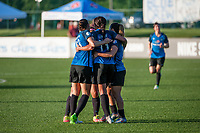 Kansas City, MO - Saturday May 27, 2017: Sydney Leroux, Brittany Taylor, Lo'eau Labonta, celebrate during a regular season National Women's Soccer League (NWSL) match between FC Kansas City and the Washington Spirit at Children's Mercy Victory Field.