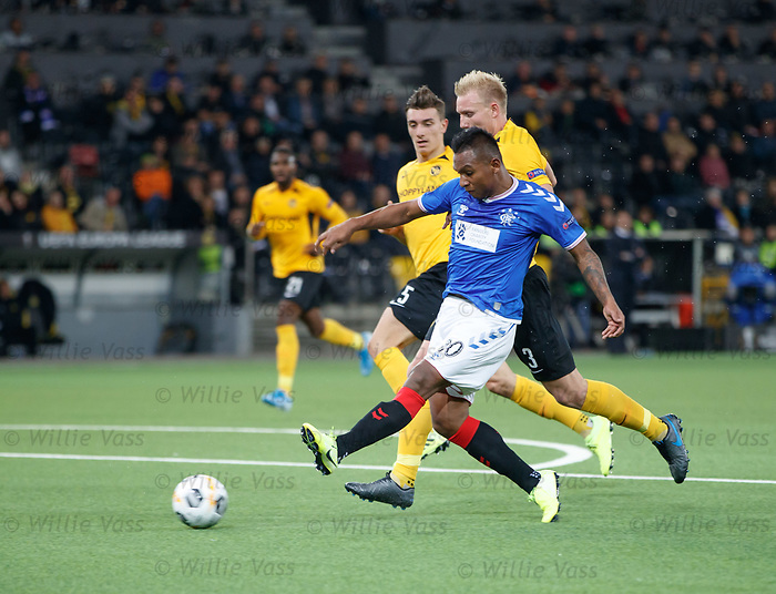 03.10.2019 Young Boys of Bern v Rangers: Alfredo Morelos beats Frederik Sorensen to drive in a shot