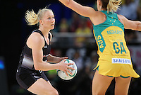 09.10.2016 Silver Ferns Laura Langman in action during the Silver Ferns v Australia netball test match played at Qudos Bank Arena in Sydney. Mandatory Photo Credit ©Michael Bradley.