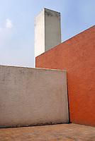 Walls surrounding the rooftop patio of the Casa Luis Barragan in Mexico City. The Casa Luis Barragan was designated a UNESCO World heritage site in 2004. EDITORIAL USE ONLY.