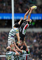 George Robson wins lineout ball. Big Game 5 Aviva Premiership match, between Harlequins and London Irish on December 29, 2012 at Twickenham Stadium in London, England. Photo by: Patrick Khachfe / Onside Images
