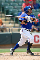 Shortstop Omar Quintanilla #3 of the Round Rock Express at bat against the Nashville Sounds in Pacific Coast League baseball on May 9, 2011 at the Dell Diamond in Round Rock, Texas. (Photo by Andrew Woolley / Four Seam Images)