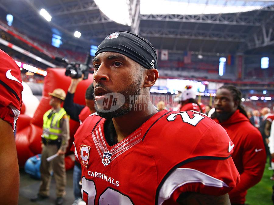 Dec 27, 2015; Glendale, AZ, USA; Arizona Cardinals cornerback Justin Bethel (28) against the Green Bay Packers at University of Phoenix Stadium. Mandatory Credit: Mark J. Rebilas-USA TODAY Sports