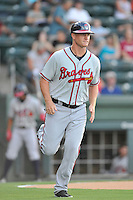Coach Barrett Kleinknecht (25) of the Rome Braves in a game against the Greenville Drive on Thursday, July 28, 2016, at Fluor Field at the West End in Greenville, South Carolina. Greenville won, 5-4. (Tom Priddy/Four Seam Images)