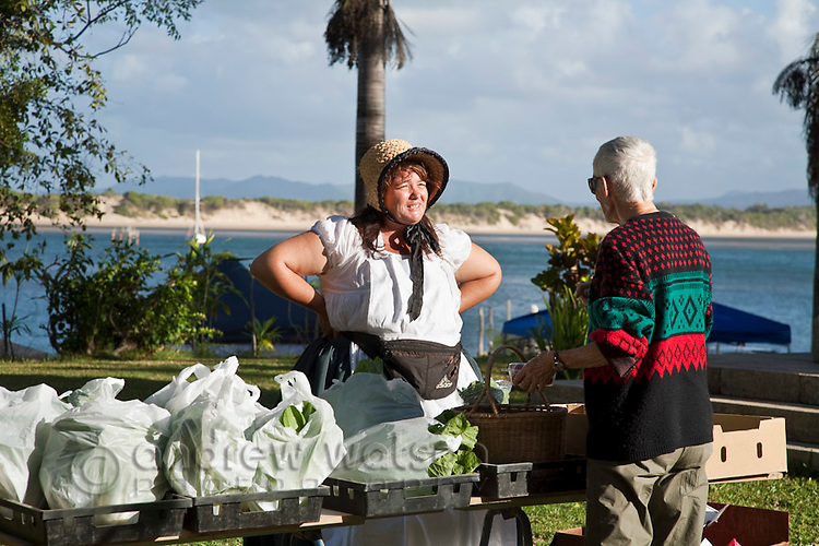Stallholder in period costume during Cooktown Discovery Festival.  Cooktown, Queensland, Australia
