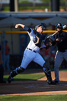 Lakeland Flying Tigers catcher Grayson Greiner (8) throws down to second during a game against the Tampa Yankees on April 7, 2016 at Henley Field in Lakeland, Florida.  Tampa defeated Lakeland 9-2.  (Mike Janes/Four Seam Images)