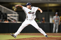 Fort Myers Miracle pitcher Steven Gruver (33) delivers a pitch during a game against the St. Lucie Mets on April 18, 2014 at Hammond Stadium in Fort Myers, Florida.  St. Lucie defeated Fort Myers 15-9.  (Mike Janes/Four Seam Images)