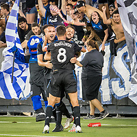 San Jose, CA - Tuesday June 11, 2019: Jimmy Ockford #15 and Chris Wondolowski #8 celebrate the goal of Vako Qazaishvili #11 during the US Open Cup match between the San Jose Earthquakes and Sacramento Republic FC at Avaya Stadium.
