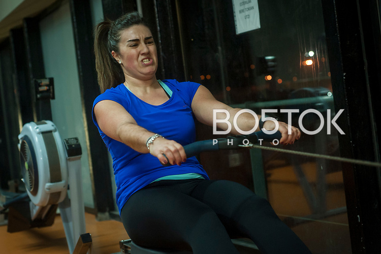 Lorea Etxart, a female rower on San Juan rower Club on a workout session in the club's gym. Pasaia (Basque Country). January 26, 2017. (Gari Garaialde / BostokPhoto)