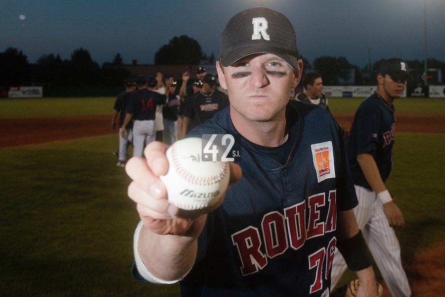 06 June 2010: Aaron Hornostaj of Rouen poses with a ball at the end of the 2010 Baseball European Cup match won 10-8 by the Rouen Huskies over AVG Draci Brno, at the AVG Arena, in Brno, Czech Republic.