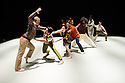 Ipswich, UK. 15.02.2014. Luca Silvestrini's PROTEIN present BORDER TALES at Dance East, Jerwood DanceHouse. Picture shows:  Stuart Waters, Eryck Brahmania, YuYu Rau, Kenny Wing Tao Ho, Salah el Brogy, Femi Oyewole, Stephen Moynihan, Anthar Kharana (musician). Photograph © Jane Hobson.
