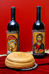 Two sacramental wine bottles and bread still life. Cyprus Wine Museum.