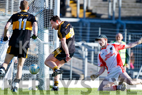 Daithí Casey Dr Crokes scores a goal against Tomas Mac an tSaoir West Kerry in the Kerry Senior Football Championship Semi Final at Fitzgerald Stadium on Saturday.
