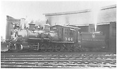 3/4 fireman's-side view of C-19 #344 at Gunnison roundhouse.  Venting tender air reservoir - water or steam?<br /> D&amp;RGW  Gunnison, CO  9/4/1938