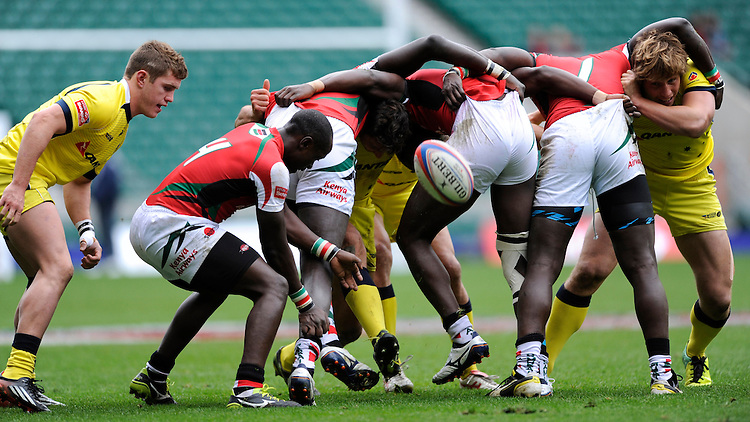 The ball pops out of a scrum during the match between Australia and Kenya during Day Two of the iRB Marriott London Sevens at Twickenham on Sunday 11th May 2014 (Photo by Rob Munro)