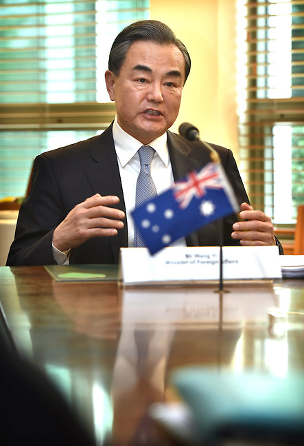 Chinese Foreign Minister Wang Yi speaks to Australian Foreign Minister Julie Bishop during the Australia-China Foreign and Strategic Dialogue at Parliament House Canberra, Tuesday Feb 7, 2017. AFP PHOTO/ MARK GRAHAM