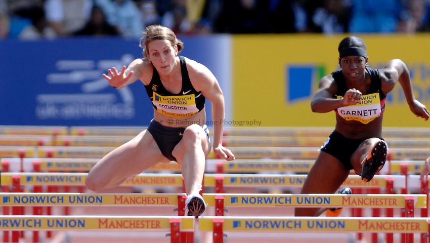 Photo: Richard Lane/Richard Lane Photography..Norwich Union World Trials and AAA Championships. 28/07/2007. .Kelly Sotherton and Channelle Garnett in a women's 100m hurdles heat.