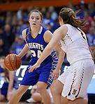 RAPID CITY, SD - MARCH 18, 2017 -- Kendyl Kreber #24 of Sioux Falls O'Gorman drives toward Autumn Steffen #2 of Harrisburg during the 2017 South Dakota State Class AA Girls Basketball Championship game Saturday at Barnett Arena in Rapid City, S.D.  (Photo by Dick Carlson/Inertia)