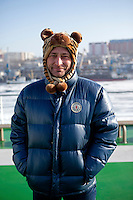 A portrait of a Russian passenger on the Eastern Dream ferry arriving in Vladivostok.
