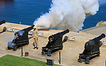 Saluting Battery gun firing, Upper Barrakka Gardens, Valletta, Malta