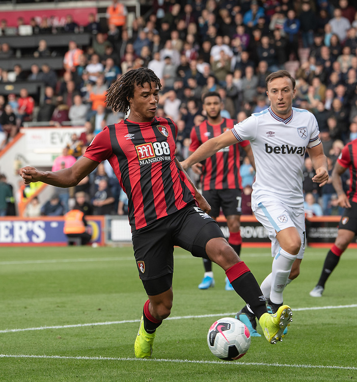 Bournemouth's Nathan Ake (left) under pressure from West Ham United's Mark Noble (right) <br /> <br /> Photographer David Horton/CameraSport<br /> <br /> The Premier League - Bournemouth v West Ham United - Saturday 28th September 2019 - Vitality Stadium - Bournemouth<br /> <br /> World Copyright © 2019 CameraSport. All rights reserved. 43 Linden Ave. Countesthorpe. Leicester. England. LE8 5PG - Tel: +44 (0) 116 277 4147 - admin@camerasport.com - www.camerasport.com
