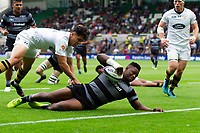 Simon Uzokwe of Newcastle Falcons scores a try. Premiership Rugby 7s (Day 2) on July 28, 2018 at Franklin's Gardens in Northampton, England. Photo by: Patrick Khachfe / Onside Images