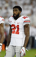 STATE COLLEGE, PA - SEPTEMBER 29: Ohio State WR/H-B Parris Campbell, Jr. (21) watches during warm ups. The Ohio State Buckeyes defeated the Penn State Nittany Lions 27-26 on September 29, 2018 at Beaver Stadium in State College, PA. (Photo by Randy Litzinger/Icon Sportswire)