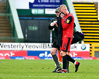 Ludvig Ohman of Grimsby Town leaves the field with a facial injury during Yeovil Town vs Grimsby Town, Sky Bet EFL League 2 Football at Huish Park on 9th February 2019