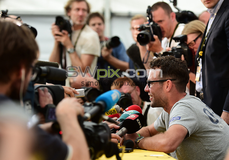 Picture by Alex Broadway/SWpix.com - 03/07/2014 - Tour de France: Grand Depart - TDF Press Conferences - Wellington Place, Leeds, England - Mark Cavendish of Great Britain and Omega Pharma-Quick-Step speaks to the press.