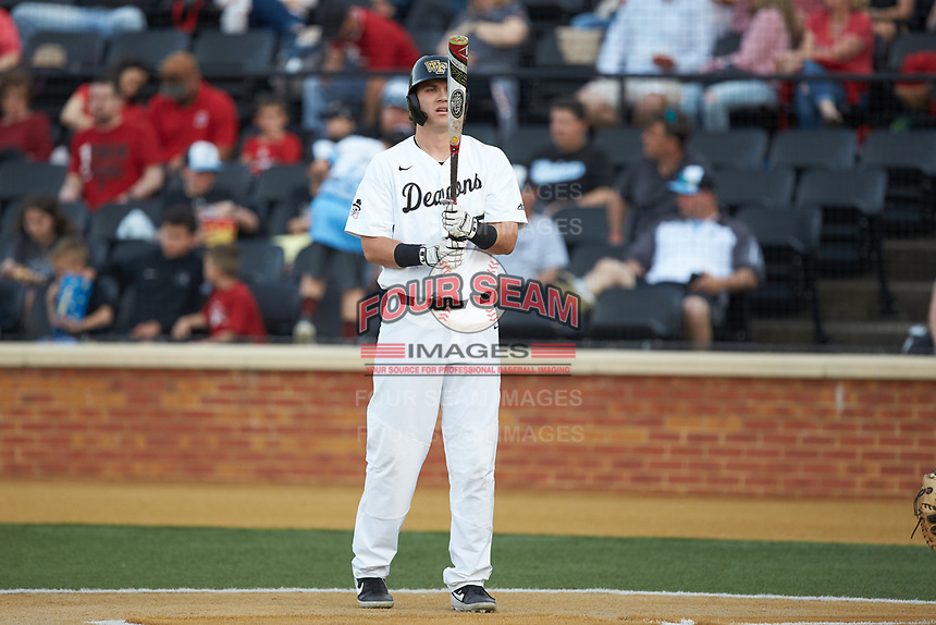 Bobby Seymour (3) of the Wake Forest Demon Deacons steps up to the plate during the game against the North Carolina State Wolfpack at David F. Couch Ballpark on April 18, 2019 in  Winston-Salem, North Carolina. The Demon Deacons defeated the Wolfpack 7-3. (Brian Westerholt/Four Seam Images)