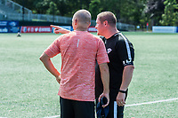 Boston, MA - Saturday June 24, 2017: Paul Riley and Matt Beard during a regular season National Women's Soccer League (NWSL) match between the Boston Breakers and the North Carolina Courage at Jordan Field.